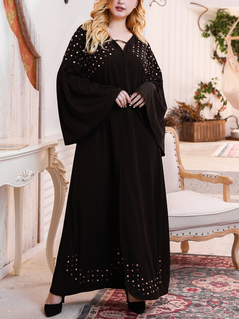 Tawanda Plus Size Embellished V Neck Long Sleeve Maxi Dress Gown (Also Suitable As Muslimah / Muslim Clothing. Evening, Wedding, Dinner Wear) (EXTRA BIG SIZE)