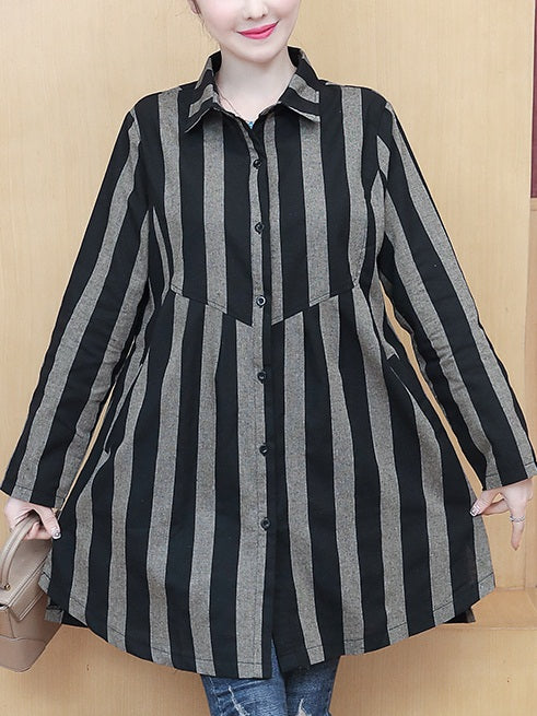 Yanshi Plus Size Stripes Long Sleeve Shirt Blouse