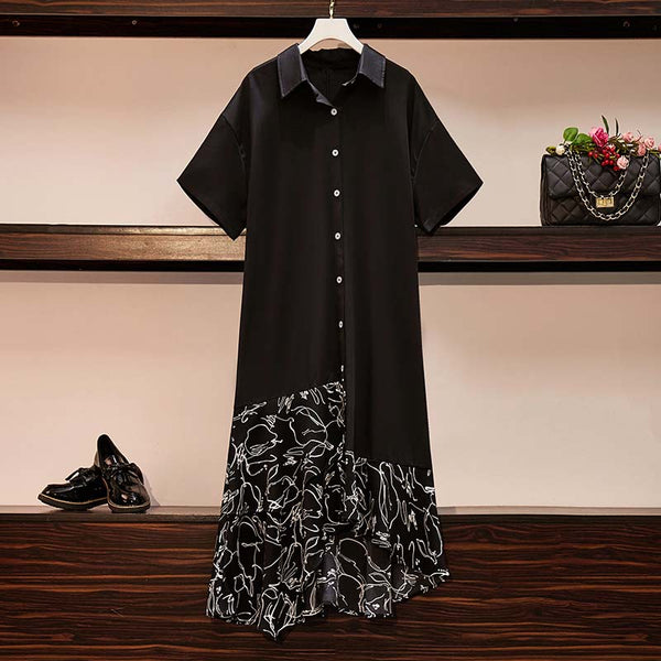 Janae Plus Size Printed Hem Shirt Dress