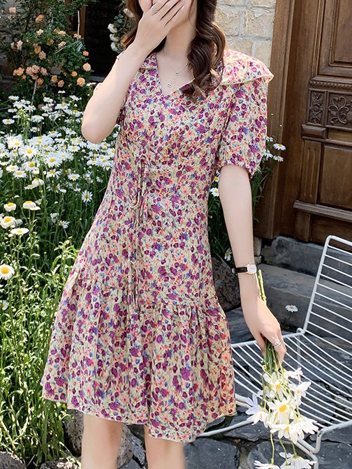Libby Plus Size Korean Collar Floral Dress
