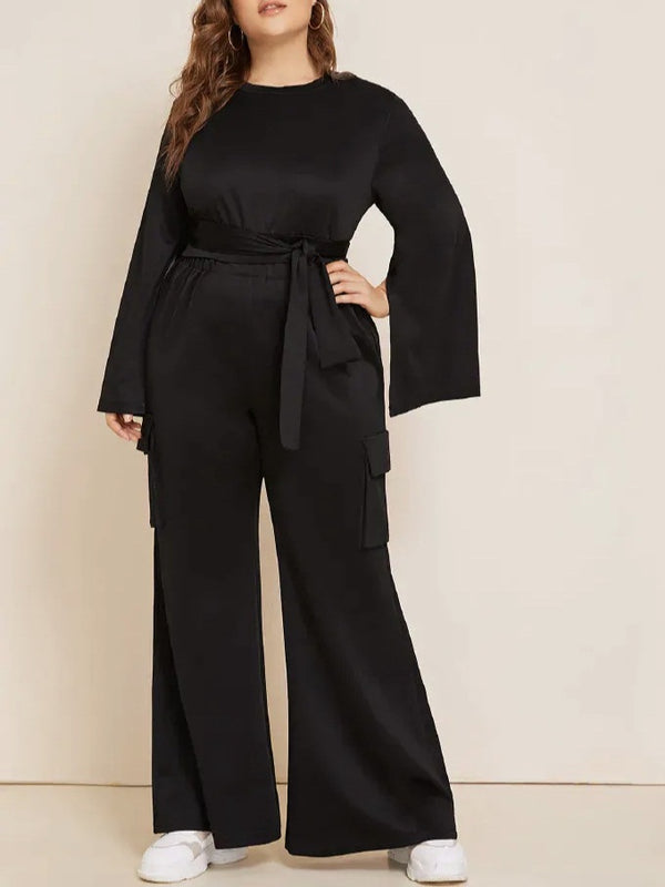 Tawanna Plus Size Cape Look Wide Sleeve Long Sleeve Top And Wide Leg Pants Set (Also Suitable As Muslimah / Muslim Clothing) (EXTRA BIG SIZE)