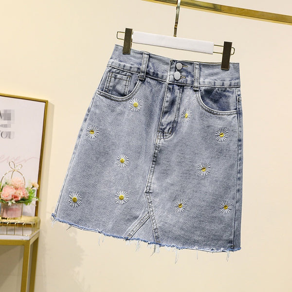 Halle Plus Size Daisy Embroidered Denim Mini Skirt