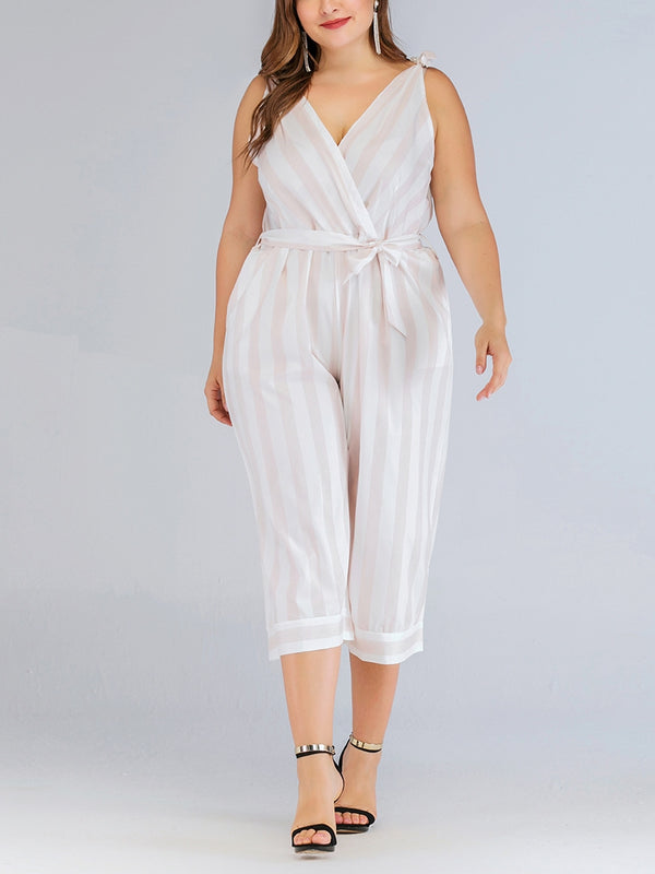 Violetta Plus Size V Neck Stripes Sleeveless Jumpsuit Romper