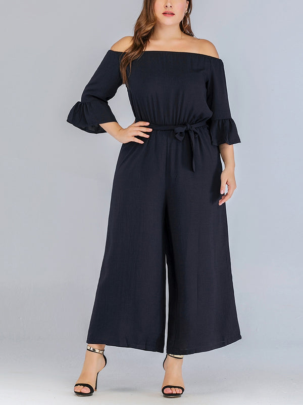 Violette Plus Size Blue Off Shoulder Wide Leg Maxi Jumpsuit Romper