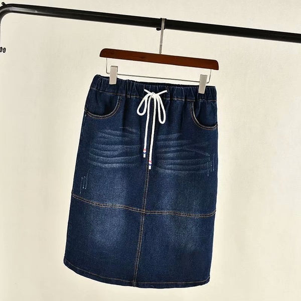 Krysten Plus Size Drawstring Denim Skirt