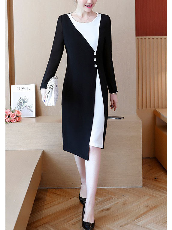 Yardley Plus Size Monochrome Long Sleeve Dress