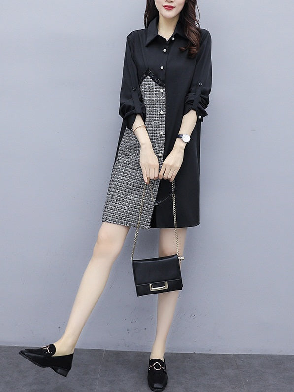 Yareli Plus Size Tweed Layer Long Sleeve Shirt Dress
