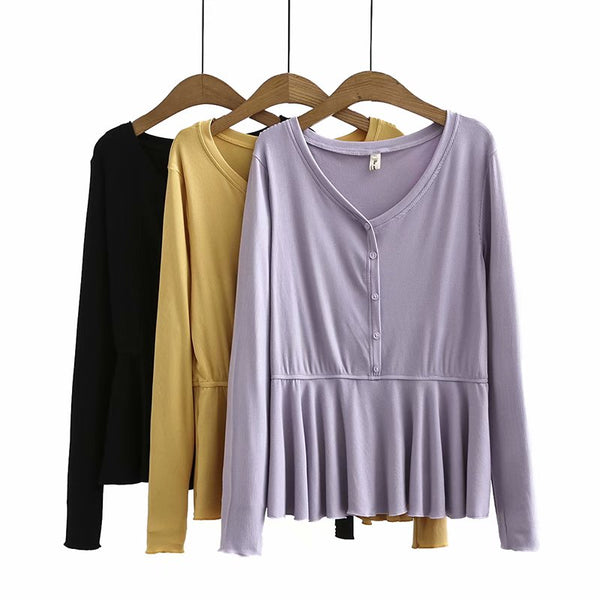 Krystina Plus Size Peplum Henley V Neck Long Sleeve T Shirt Top