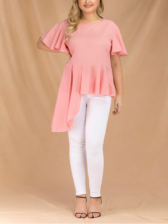 Tanja Plus Size Pink Frill Side Short Sleeve Blouse (Suitable For Chinese New Year, Work) (EXTRA BIG SIZE)