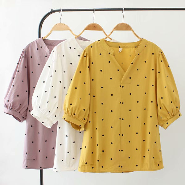 Krystle Plus Size Polka Dots Sleeve Top