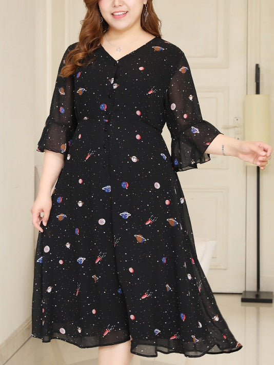 Rejoice Black V Neck Cosmic Print Bell Sleeve Mid Sleeve Midi Dress (EXTRA BIG SIZE)