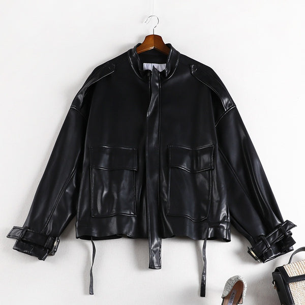 Stephenie Plus Size PU Biker Autumn Jacket
