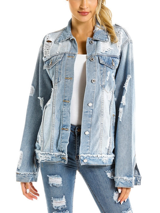 Light Blue Distressed Denim Jacket (EXTRA BIG SIZE)