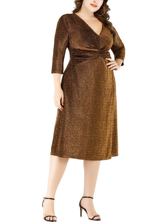 Shireen Shimmer Gathered V Neck Mid Sleeve Dress (Gold, Silver, Black) (EXTRA BIG SIZE)