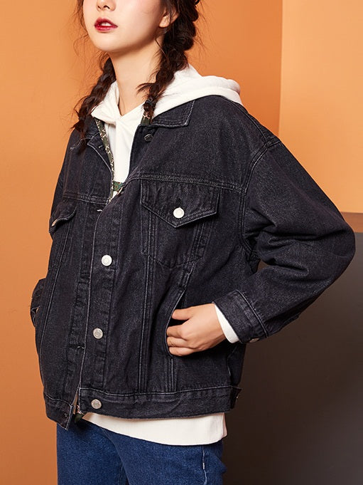 Zayda Plus Size Loose Boxy Denim Jacket (Black, Blue)