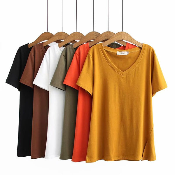 Krystyna Plus Size V Neck Slit Short Sleeve T Shirt Top