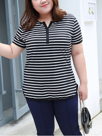 Nina Stripe V-Neck Cotton Tee