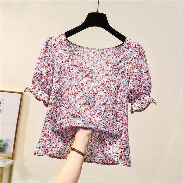 (Special Price) Knarik Plus Size Square Neck Floral Short Sleeve Top
