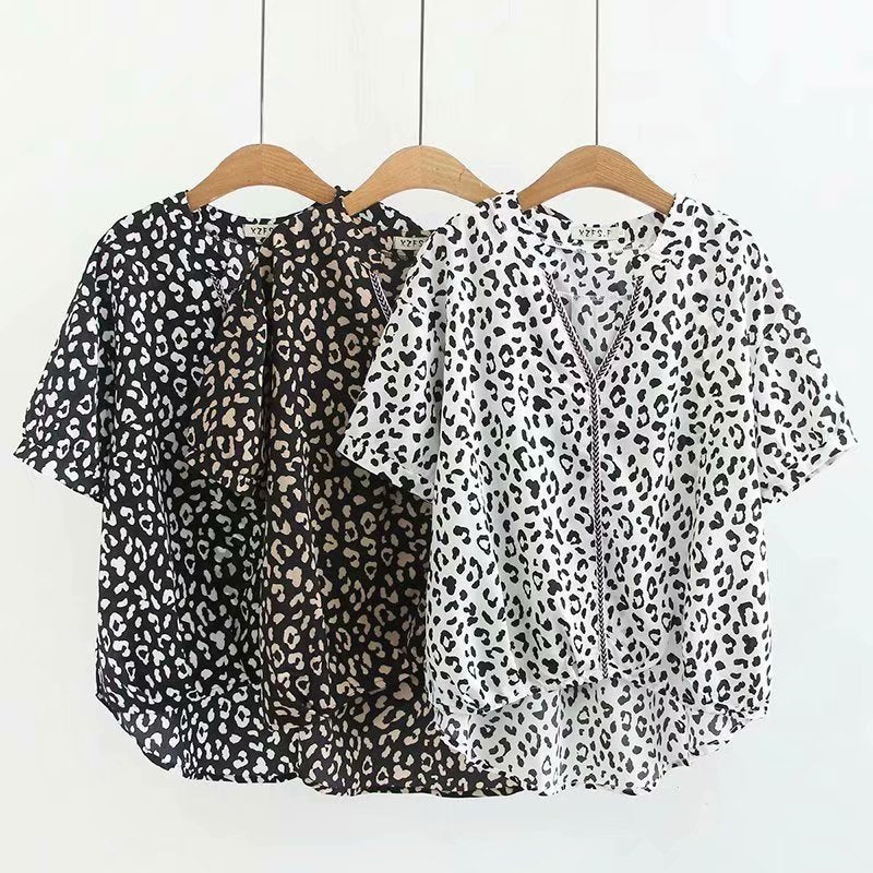 Lael Plus Size Chiffon Leopard Print V Neck Short Sleeve Top