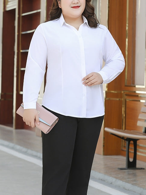 White Stretch Office L/S Shirt Blouse (EXTRA BIG SIZE)