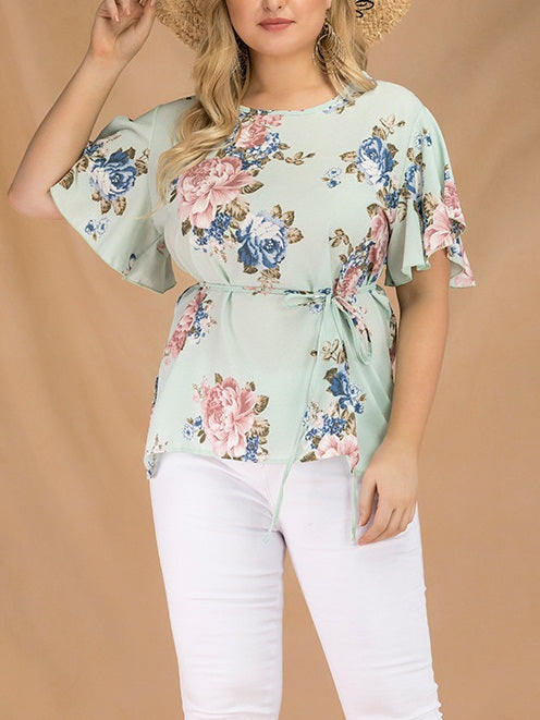 Tarah Plus Size Blue Floral Print Short Sleeve Blouse (EXTRA BIG SIZE)