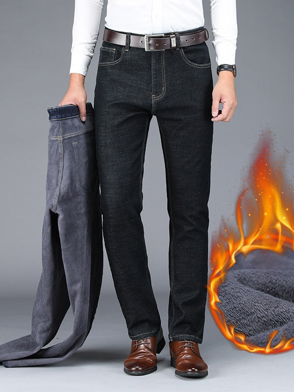 Spencer Plus Size Men's Winter Pants Denim Jeans with Thick Fleece Inside (Black, Blue)