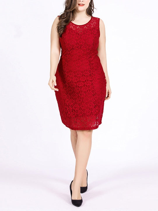 Shirella Lace Sweetheart Sleeveless Dress (Red, Black) (EXTRA BIG SIZE)