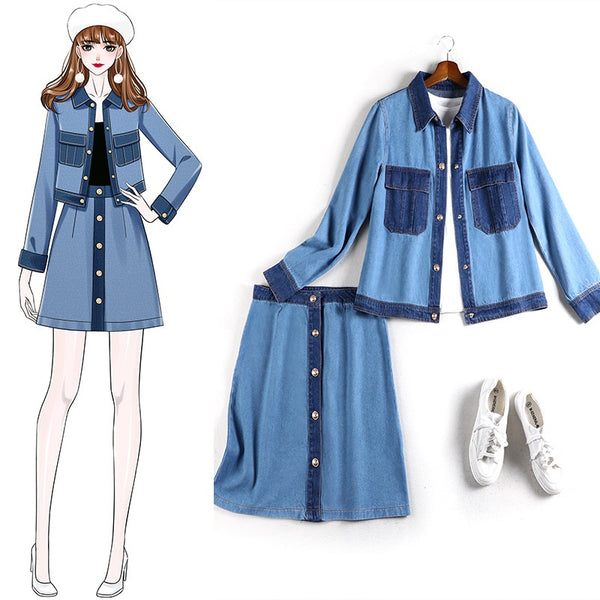 Amilia Plus Size Denim Jacket And Skirt 2 Piece Set