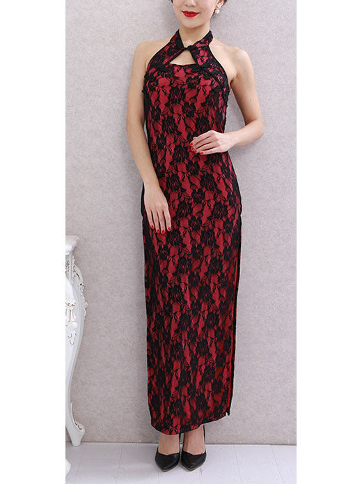 Taya Plus Size Cheongsam Qipao Lace High Slit Sleeveless Maxi Dress Gown (Suitable For Chinese New Year, Weddings, Evening Wear, Red Carpet, Company Function)
