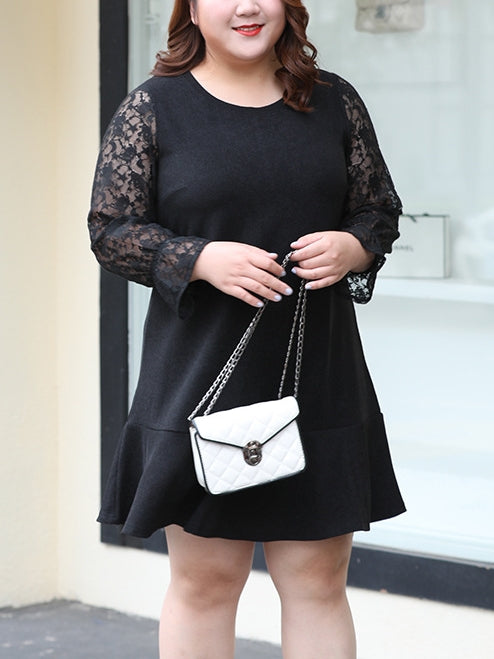 Lace Sleeve L/S Dress (EXTRA BIG SIZE)
