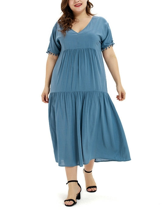 Tier Tassel V Neck S/S Midi Dress (EXTRA BIG SIZE) (Blue, Black)
