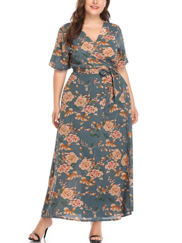 Grey Floral Print Wrap V Neck Maxi Dress (EXTRA BIG SIZE)