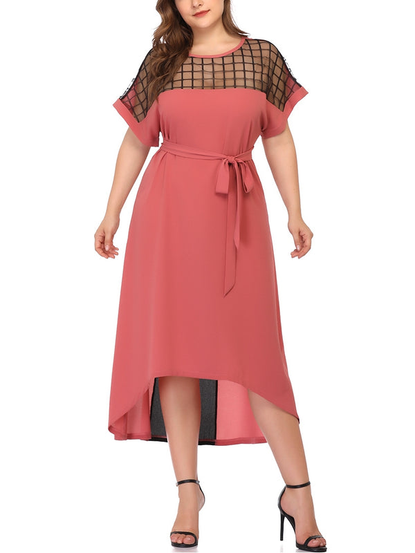 Hex Mesh Pink Waist Tie S/S Midi Dress (EXTRA BIG SIZE)