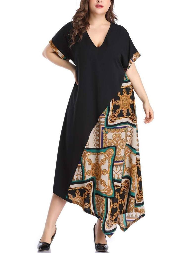 Scarf Print Block S/S Midi Dress Maxi Dress (EXTRA BIG SIZE)