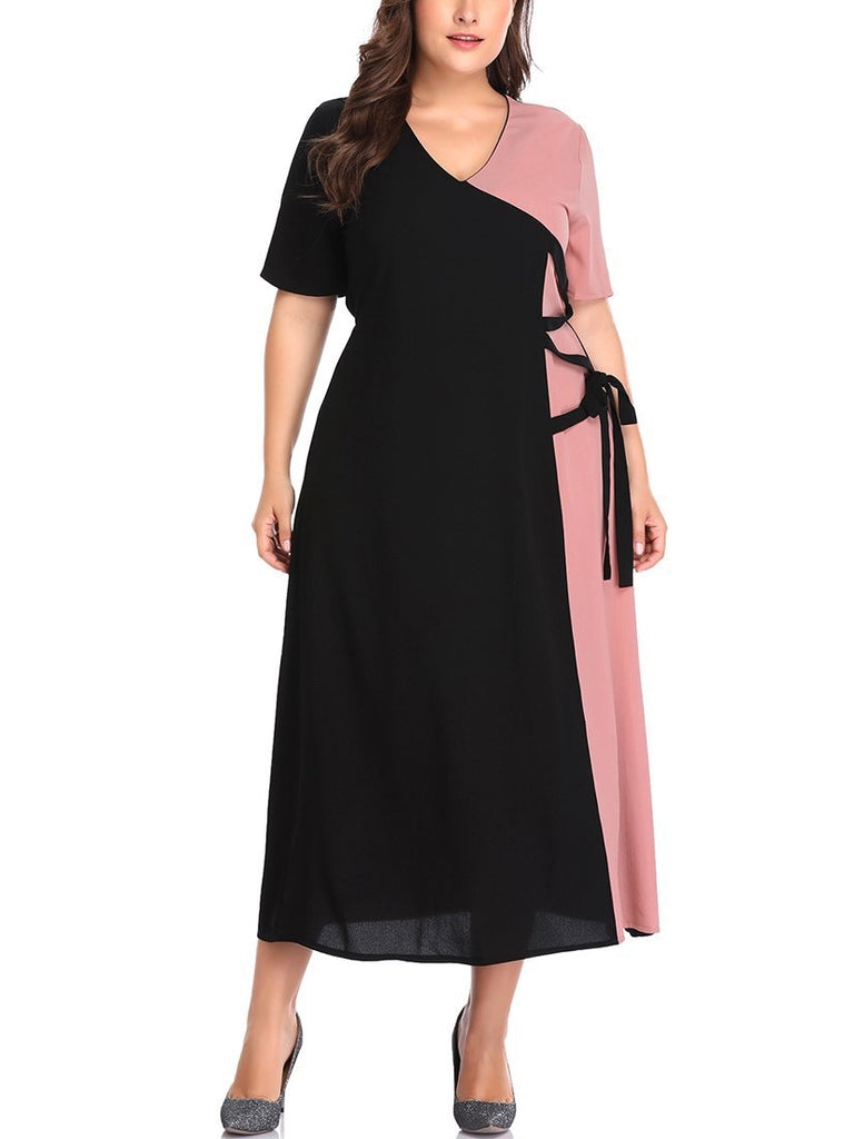 Pink Colourblock Side Tie S/S Maxi Dress (EXTRA BIG SIZE)