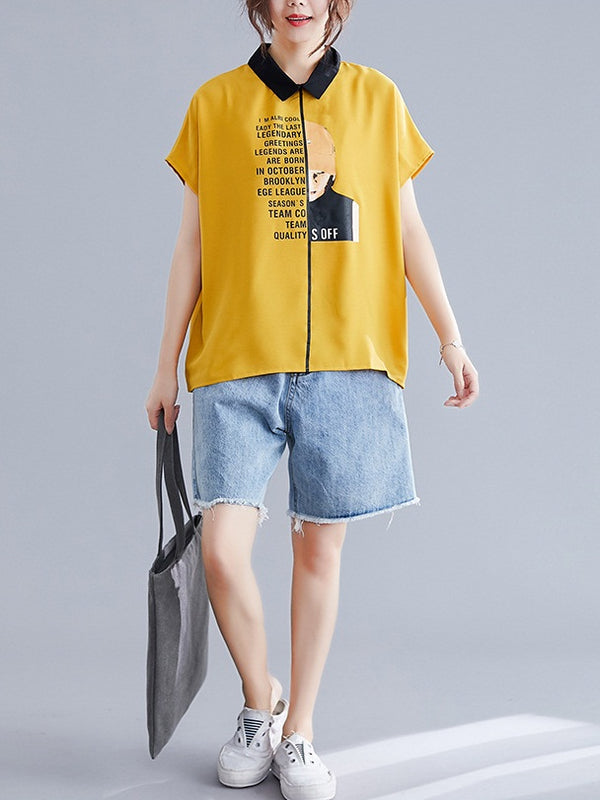 Royal Collar Graphic S/S Shirt Blouse (EXTRA BIG SIZE) (Yellow, Blue)