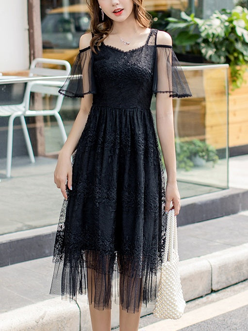 Rickie Off Shoulder Sweetheart Tulle Lace S/S Midi Dress (White, Black)