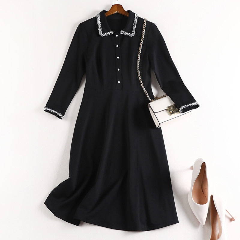 Sheilan Tweed Button Mid Sleeve Shirt Dress
