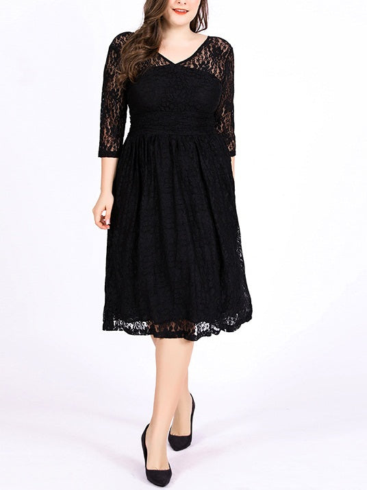 Shirelle Plus Size Formal Wedding Occasion Dinner V Neck Floral Lace Swing Mid Sleeve Dress (EXTRA BIG SIZE)