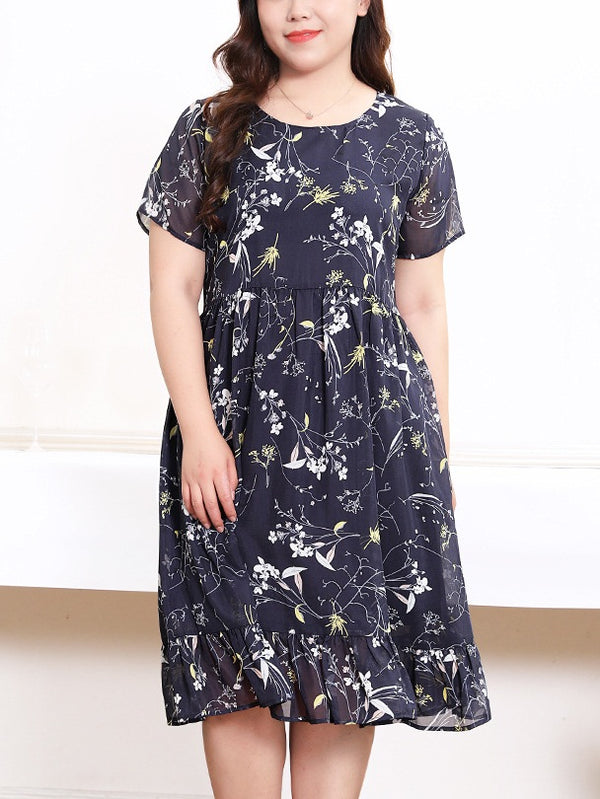 Reka Blue Floral Print Frill S/S Midi Dress (EXTRA BIG SIZE)