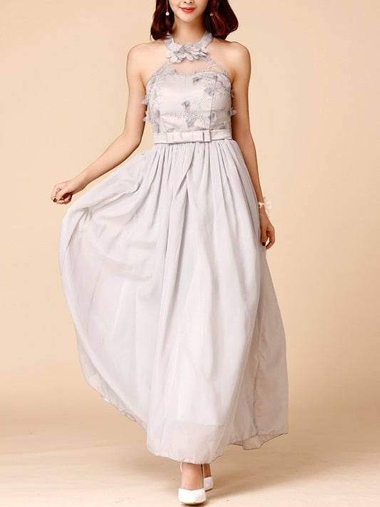 Karli Halter Plus Size Occasion Party Wedding Evening Bridesmaid Sleeveless Maxi Dress Gown
