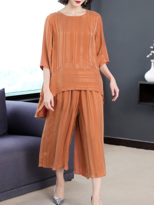Ocean Shimmer Stripe Silk Cupro Blouse and Wide Leg Culotte Pants Set