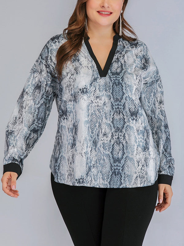 Tarren Plus Size V Neck Snake Print Long Sleeve Blouse(Suitable For Chinese New Year) (EXTRA BIG SIZE)