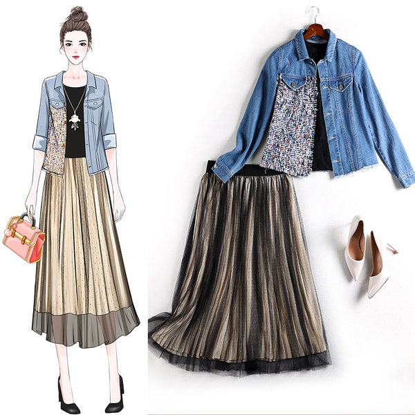 Amor Plus Size Tweed Layer Denim Jacket And Gold  And Black Tulle Swing Midi Skirt 2 Piece Set