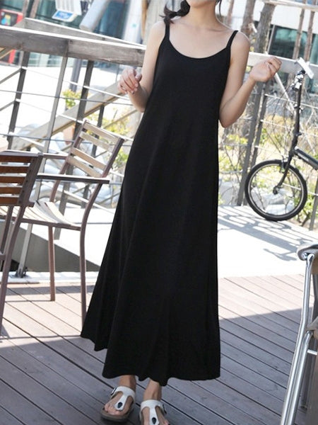 Knit Camisole Sleeveless Maxi Dress (Black, Grey) (EXTRA BIG SIZE)