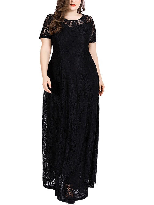 Shirie Lace Sweetheart Neckline S/S Maxi Dress (White, Black) (EXTRA BIG SIZE)