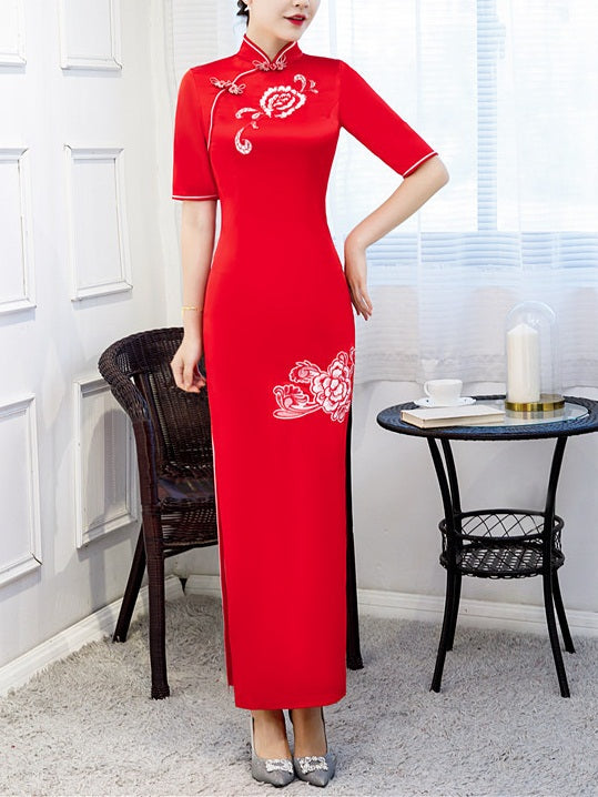 Tayci Plus Size Cheongsam Qipao Chinese Floral Embroidery Short Sleeve Maxi Dress Gown (Suitable For Chinese New Year, Weddings, Evening Wear, Red Carpet, Company Function) (Blue, Red)