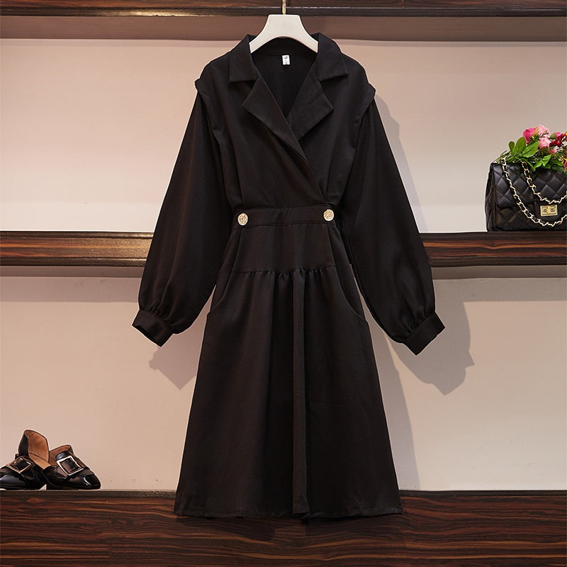 Sherine Black Button Trench Coat Look L/S Shirt Dress
