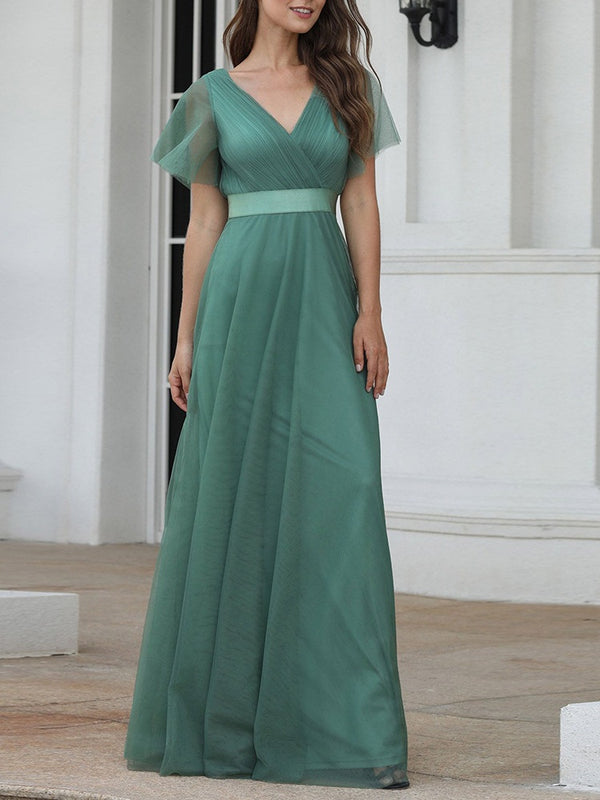 Song Plus Size Wedding Bridesmaid Evening Dress Gown Single Colour Crepe Wrap V Neck Tulle V Back Full Swing With Sleeves Short Sleeve Maxi Dress (Grey, Green, Dark Blue, Powder Blue)