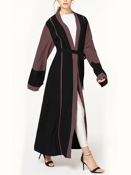 (S-5XL) Kierra Colourblock Maxi Jacket (EXTRA BIG SIZE)